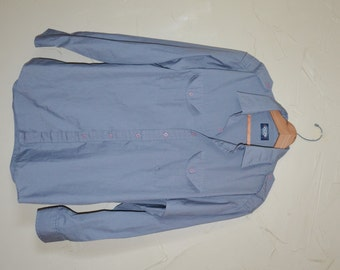 Vintage Grey Dress Shirt Men's Button Up Shirt Military Style Shirt Knights Bridge Shirt with Applets Gray Shirt Size Large