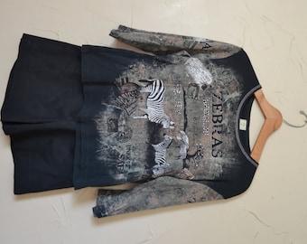 Shirt Zebra Shirt Zebra Top Black and White Shirt Zebra Shirt 90s Top Zebra Animal Graphics Shirt Safari Shirt Size Large