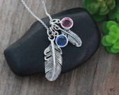Sisters Feather necklace, Birthstone feather, Choose Birthstones, Sterling silver Feather, Mother Daughter Feather necklace, Feather Jewelry
