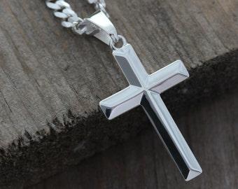 Sterling silver cross necklace, Elegant unisex sterling silver cross necklace, Men Cross, woman cross Pendant, Plain Classic cross, 5142