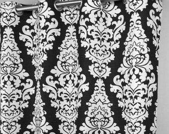 Curtains Ideas black and white damask curtains : Items similar to Girly Light Sky Blue White Osborne Damask ...