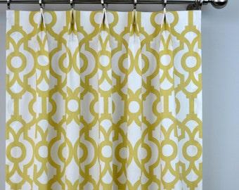 Saffron Yellow Pale Gold White Lyon Lattice Trellis Quatrefoil Curtains - Pinch Pleat - 84 96 108 120 Long - Optional Blackout Cotton Lining