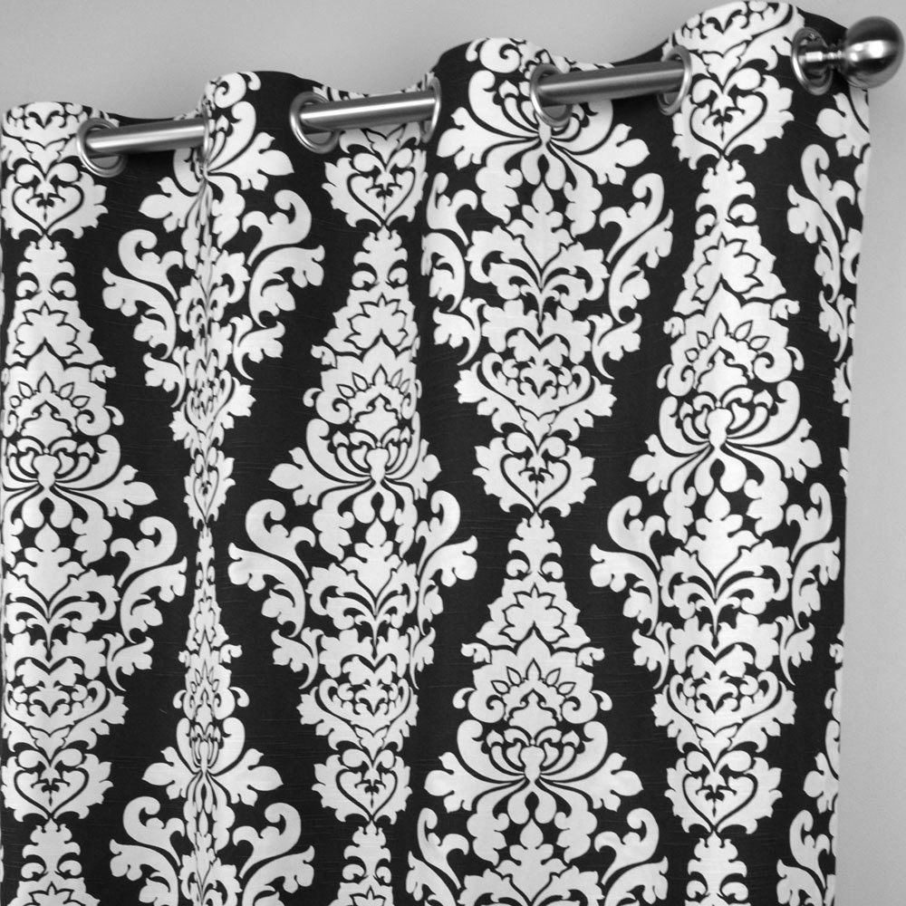 Black White Berlin Large Scale Damask Curtains Grommet 84