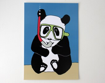 Panda Print illustration Postcard art A5