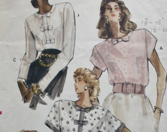 Pullover Blouse Sewing Pattern /Vogue 7506 /1980s/ Bust 34 36 38
