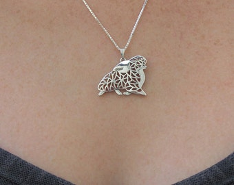Pomeranian movement - Sterling silver pendant and necklace.