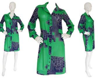 Lanvin 1970s Vintage Shirt Dress Sun Dress Green Blue US Size 6-8 Small-Medium