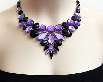 purple and jet black bib rhinestone necklace, wedding, bridesmaids, prom necklace, gift or for you NEW