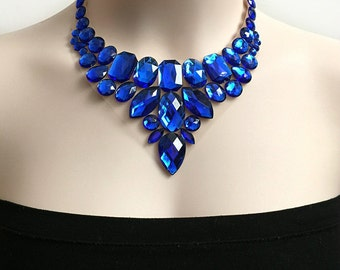 royal blue bib rhinestone necklace