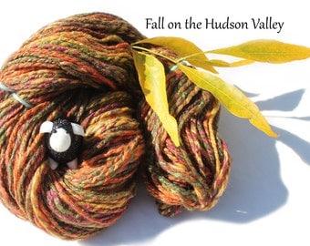 Fall on the Hudson Valley Cormo Wool/Tussah Silk (67/33% blend) Handspun Yarn Sport Weight - 2.1oz/62g/178yrds