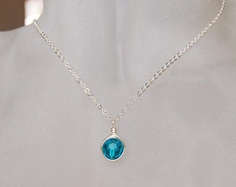 Blue Zircon Necklace , December Birthstone Necklace , Swarovski Blue Green Necklace