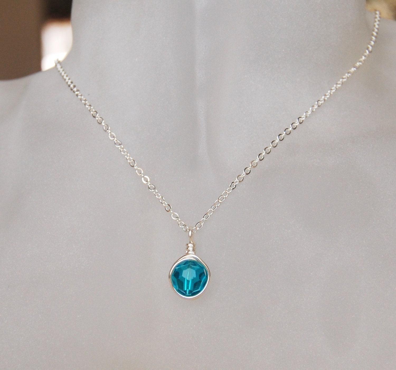 Blue Zircon Necklace December Birthstone Necklace