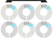 Round Closet Divider Set with Aqua Elephants - Newborn Baby through Size 6 Toddler CDB004