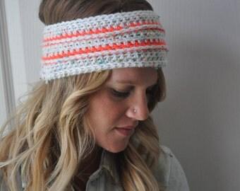 Crochet Earwarmer Headwrap Neon Accent