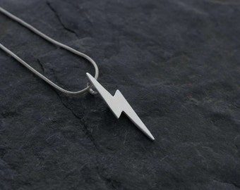 Silver Lightning Bolt Pendant     PMC Fine Silver Clay Jewellery    Handmade Recycled Silver Necklace