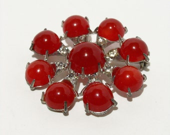 60's Starburst Brooch Red Moonglow Lucite