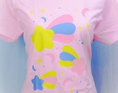 Starfall Shooting Stars and Crescent Moons Graphic T Shirt Fairy Kei Pastel Goth