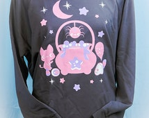 Witches Brew Cauldron Kitty, Spider, and Ghost 3/4 Sleeve Wideneck Sweatshirt Kawaii Fairy Kei Pastel Goth
