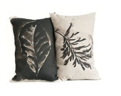 Two throw pillows/ black and white cushions/ leaf pillows/ watercolor cushions/ art on scatter