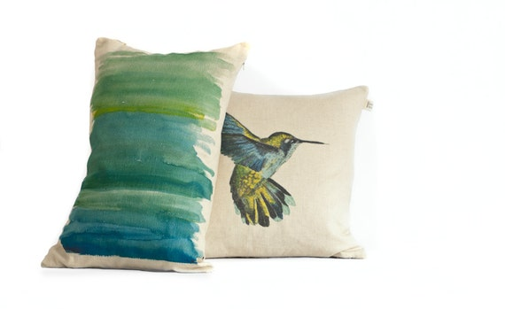 Pillow Cover Set/ Turquoise/ Yellow Abstract Brush Strokes/