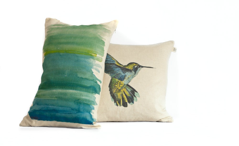 Turquoise Decorative Pillow Set : Pillow cover set/ turquoise/ yellow abstract brush strokes/