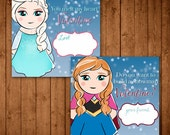 Printable Elsa & Anna Frozen-Themed Valentine Cards. Valentine Gift Tags.