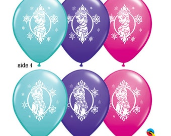 "Frozen Elsa & Anna 2-sided Assorted colors 11""latex Balloon, DIY Supplies for Air Filled Balloon and Favor Decor Frozen, Hot chocolate bar"