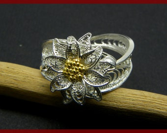 Edelweiss Ring , Silver filigree - made in Italy