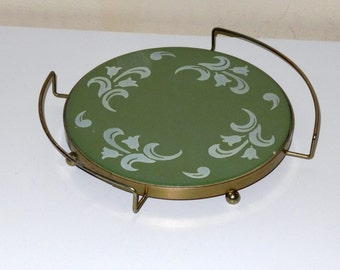 Vintage Green Ceramic Trivet and Brass Tone Trivet Holder with Handles Nasco Spain Mid Century Serving Kitchen