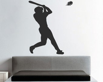 Baseball Wall Art Decal Sticker, Baseball Wall Design, Home Run Wall Decal, Home Run Wall Designs, Baseball Wall Mural, Baseball Batter, s46