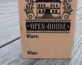 Open House Invitation Stamp Mounted on Wooden Block - Inkadinkado