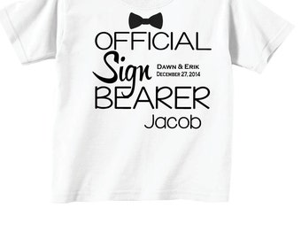 Personalized Sign Bearer Shirts and Tshirts with Bowtie and Wedding Date