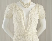 Vintage Short Wedding Dress Mid Century All Guipure Lace  Special Event