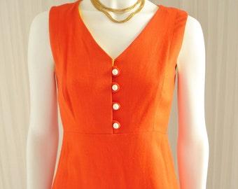 """1970's Mod Orange Jim Church for Raymond Fahn Ltd. Linen Blend Short Shift Dress with Pockets 34"""" Bust"""
