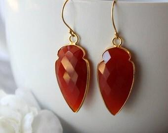 Arrow Red Carnelian Drop Earrings, Burnt Red Dangle, Red Gemstone, Carnelian Jewelry, Dagger Earrings