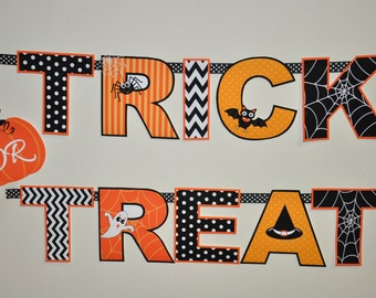 Halloween party Trick or Treat banner in orange, black, white - PDF printable template for DIY decorations