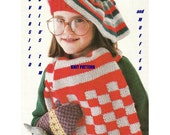 Digital Download 70's Girl's Knitted Tam Beret & Lined Scarf - Hippie Era Child's Hat and Scarf PDF Knit Pattern Knitting Pattern Supply