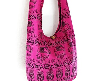 Women bag Handbags Cotton bag Elephant bag Hippie Hobo bag Boho bag Shoulder bag Sling bag Messenger bag Tote bag Crossbody Purse Hot Pink