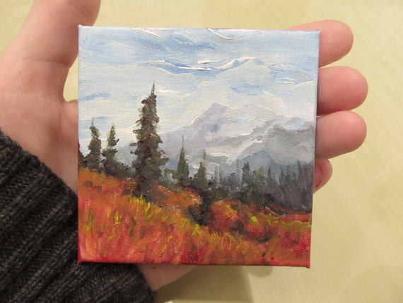 Northern mountains landscape original art 3x3 miniature for Small canvas boards