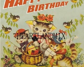 Cats Happy Birthday Vintage Digital Image