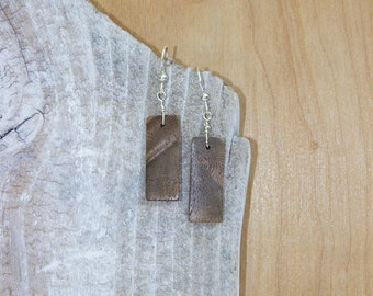 Black Walnut Wood - Beautiful Grain Wooden Earrings with Sterling Silver French Ear Wires