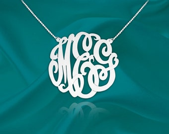 Monogram Necklace - 1 inch monogram necklace sterling silver - Handcrafted Designer - Personalized Monogram - Initial Necklace - Made in USA