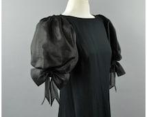 Glam Architecural 1980s Black Dress