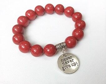 Never Give Up bracelet, Blood Cancer Awareness, Leukemia and Lymphoma Society Fundraiser