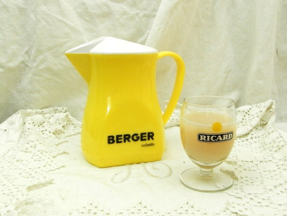 Vintage Mid Century French Berger Aperitif Ice Water Pitcher / Jug, French Bistro Café Decor, Ricard Pastis Pernod  Flea Market Brocante