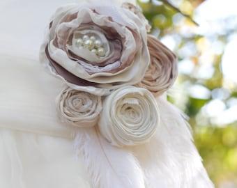 Wedding dress sash belt bridesmaids maternity sash fabric flower ivory cream taupe brown pearl feather bridal sash photo prop wedding sash
