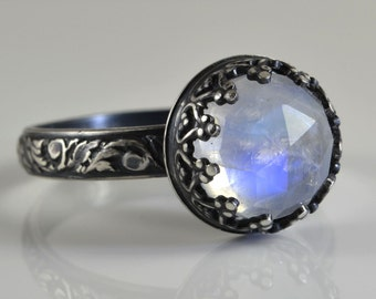 Moonstone Ring, Sterling Silver, Faceted Rose Cut Rainbow Moonstone Stone in Crown Setting