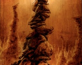 """Archival Giclee Woodburning Print; """"The Antlers"""" (20"""" x 5.25"""")"""