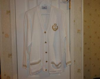 Vintage 1980's White Retro Oversized Cardigan Sweater Big Gold Buttons Nautical Vibe