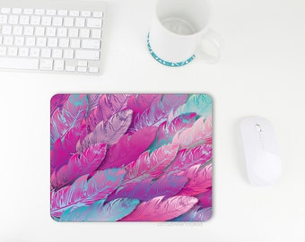 Mouse Pad / Feather Print / Feather Mousepad / Pink / Purple